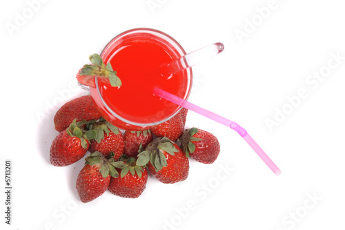 fresh strawberry drink on the white background