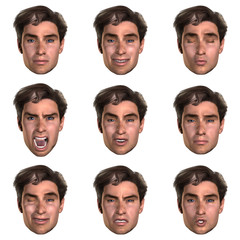 computer generated  face with nine expressions