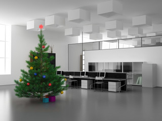 the christmas pine over office background (3D)