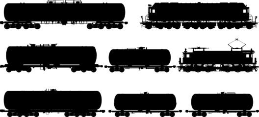 Railway silhouettes set