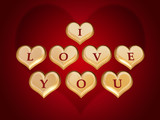 3d golden hearts, red letters, text - I love you, gradient poster