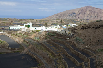 Village and farmland in Lanzarote, Canary Islands, Spain