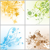 Grunge floral backgrounds, vector illustration