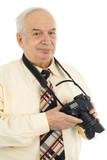press photographer, paparazzi, isolated on white background poster