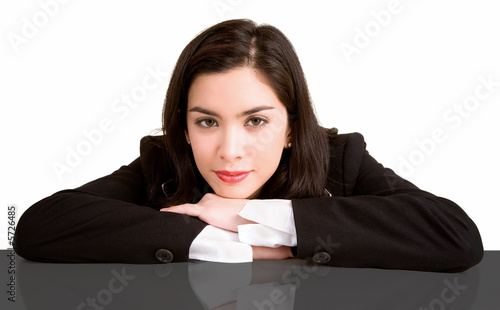 A Businesswoman Resting on her Desk