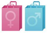 Achats masculin et féminin poster