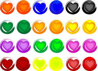 Colorful heart buttons