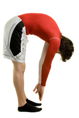 A young man stretching over a white background.