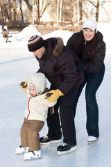 Winter recreation. Family skating on rink