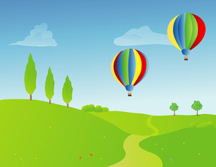 a pair of hot air balloons over a springtime rural landscape