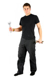 man in black with plumber tools is going to work poster
