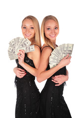 Twin girls with Dollars