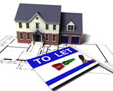 3D render of a house on blueprints with to let sign  poster
