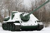 Self-propelled assault gun on eternal parking in winter park poster
