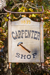 A n old carpenter shop sign.