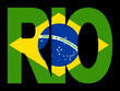Rio text with Brazilian flag