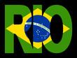Rio text with Brazilian flag