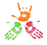 multi colored finger painted hands with one making sign poster