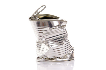 Empty twisted metal can over white background