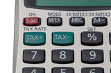 Macro shot of the buttons on a TAX calculator. poster