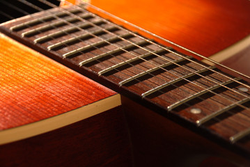 Acoustic guitar detail - shallow depth of field