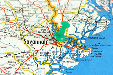 Savannah in Georgia, USA. Push pin on an old map.