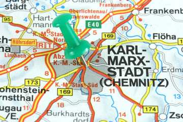 Former Karl Marx Stadt, now Chemnitz in Germany.