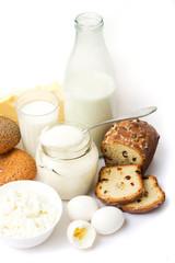 Healthy european breakfast  - milk, eggs, curd, etc.