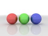 3d illustration of reflective 3d balls poster