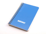 Blue Spiral Memo note book on white poster