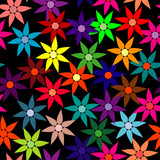 Vivid, colorful, repeating flower background on black poster