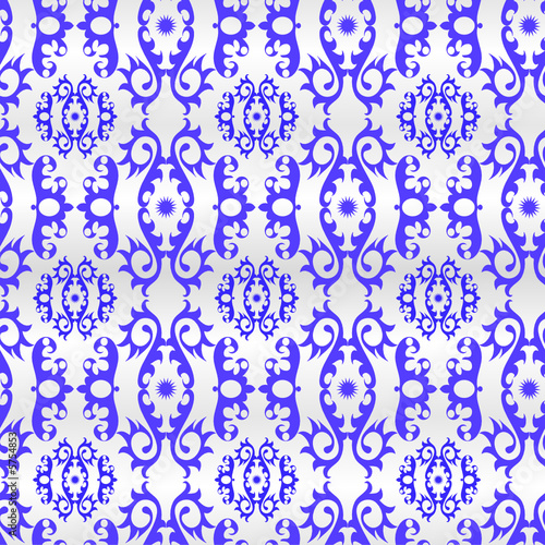 Seamless blue ornament vector pattern on white