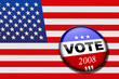 American flag with vote button for presidential elections
