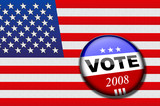 American flag with vote button for presidential elections poster