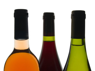 Backlit shot of red, rose and white wine bottles