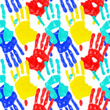 seamless background from colored hand prints  - unity concept poster