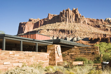 Visitors center at Capital Reef National Park with The Castle