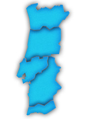Carte Portugal 3D Bleu