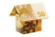 euro money house made of two 50 euro banknotes
