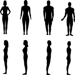 male and female silhouettes - vector