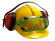 Safety helmet, goggles and ear defenders isolated on white