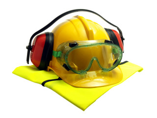 Various safety gear isolated on white