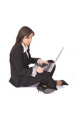 Businesswoman making an online purchase  poster