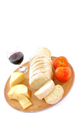 Meal - Bread and Cheese food on white . poster