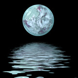 large moon  on water