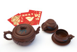 tea time setting and lucky money for Chinese new year poster