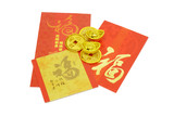 Chinese New Year ornaments gold coins, ingots and red packets poster