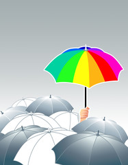 vector illustration of rainbow umbrella above of gray ones