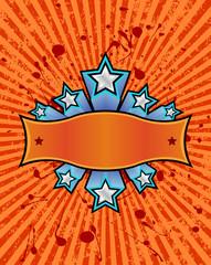 silver stars set against a orange background