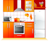Modern kitchen fittings - furniture and appliances. Vector poster